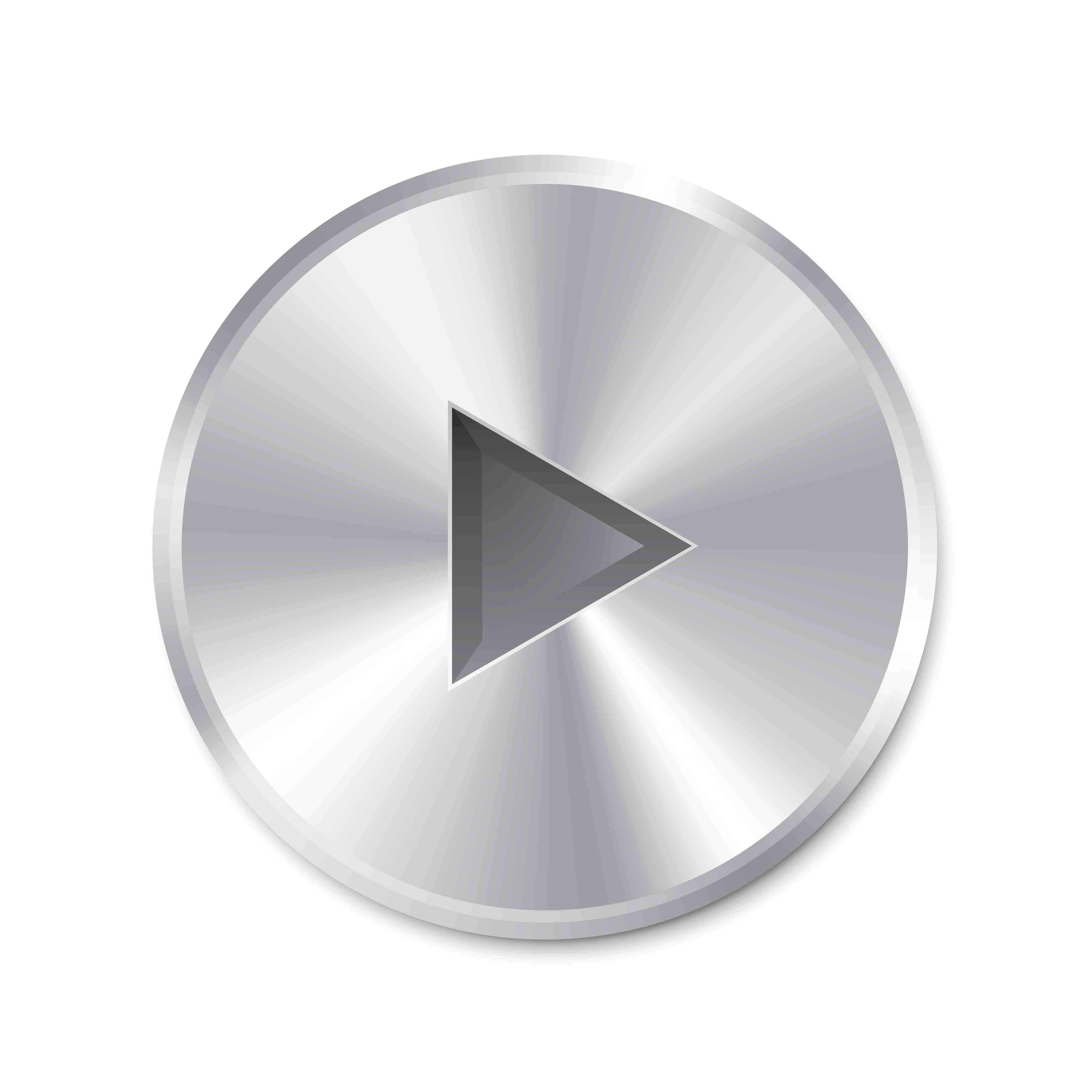 Realistic metallic Play Button (round). Isolated on white background. Illustration.